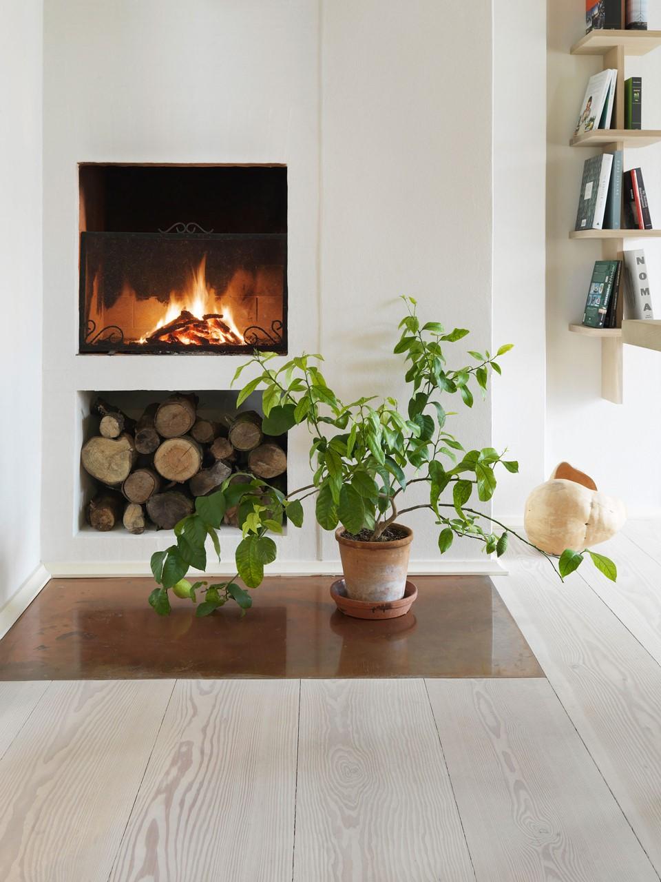 douglas fir floor lye white soap underfloor heating fireplace dinesen country home.jpg