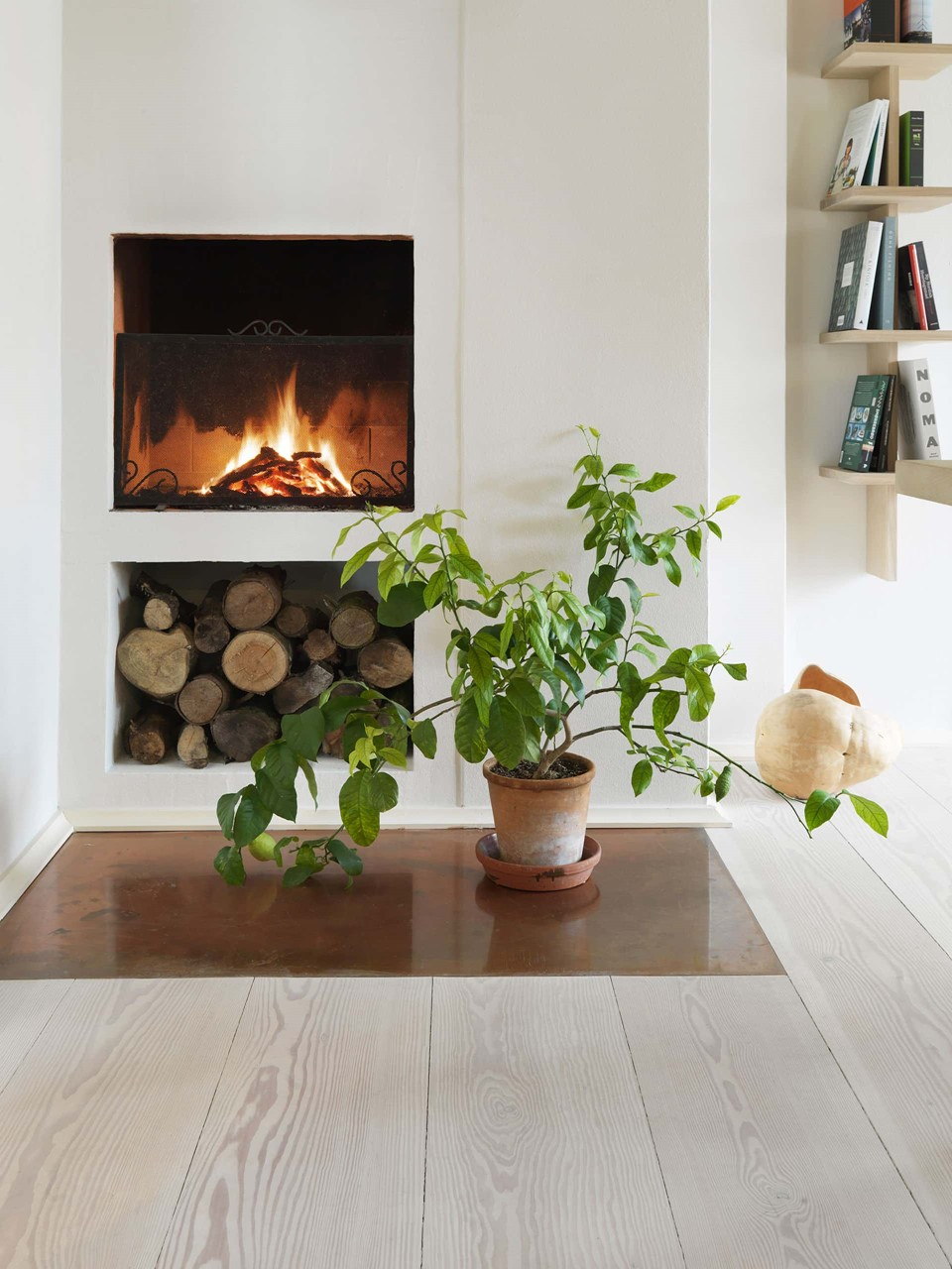 douglas fir floor lye white soap underfloor heating fireplace dinesen country home.jpg